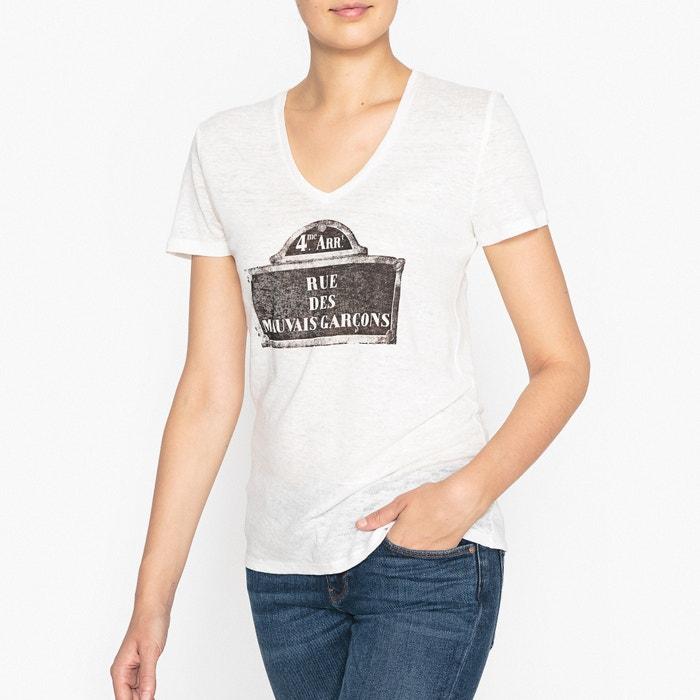 t shirt en lin avec motif imprim ikks blanc cass la redoute. Black Bedroom Furniture Sets. Home Design Ideas