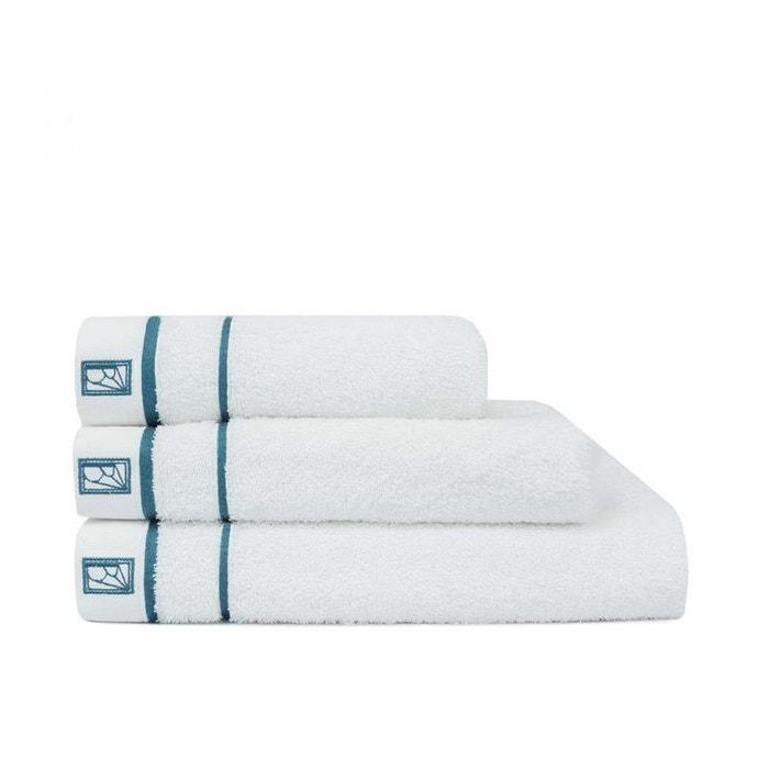 Serviette de douche - léman - blanc - bleu lagon blanc - bleu lagon ...
