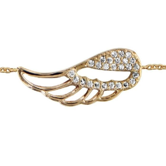 Bracelet aile ange ajourée oxyde de zirconium blanc 16 + 2 cm plaqué or 750 couleur unique So Chic Bijoux | La Redoute