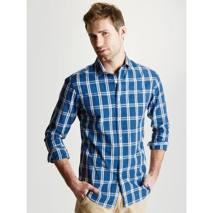 chemise homme ajust e grands carreaux bleu carreaux cyrillus la redoute. Black Bedroom Furniture Sets. Home Design Ideas