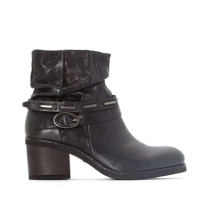 Boots cuir shaggy   noir/imprimé Mjus   La Redoute