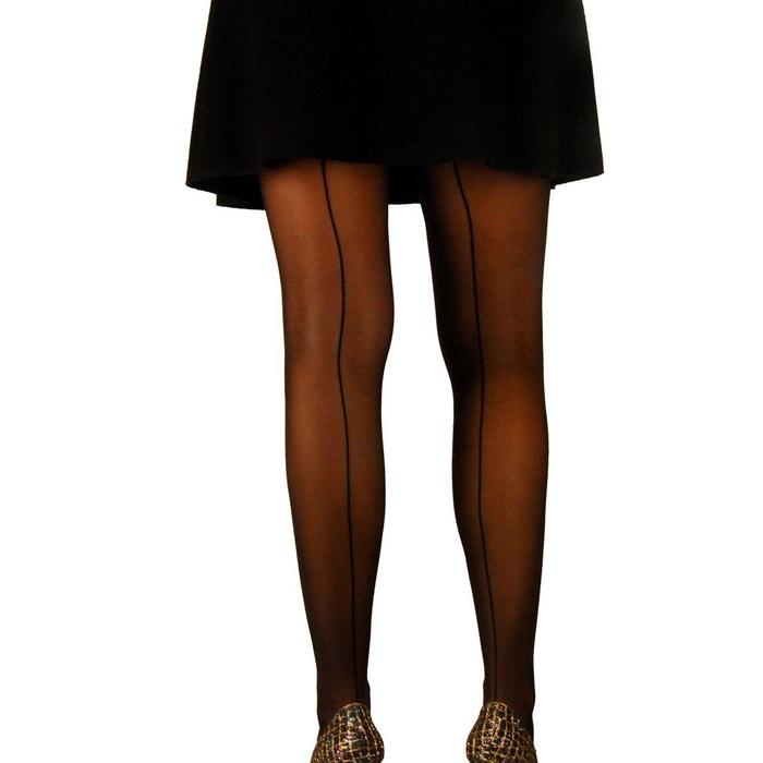 Collant fantaisie avec couture arrière noir Mamsy  a3d2e169786