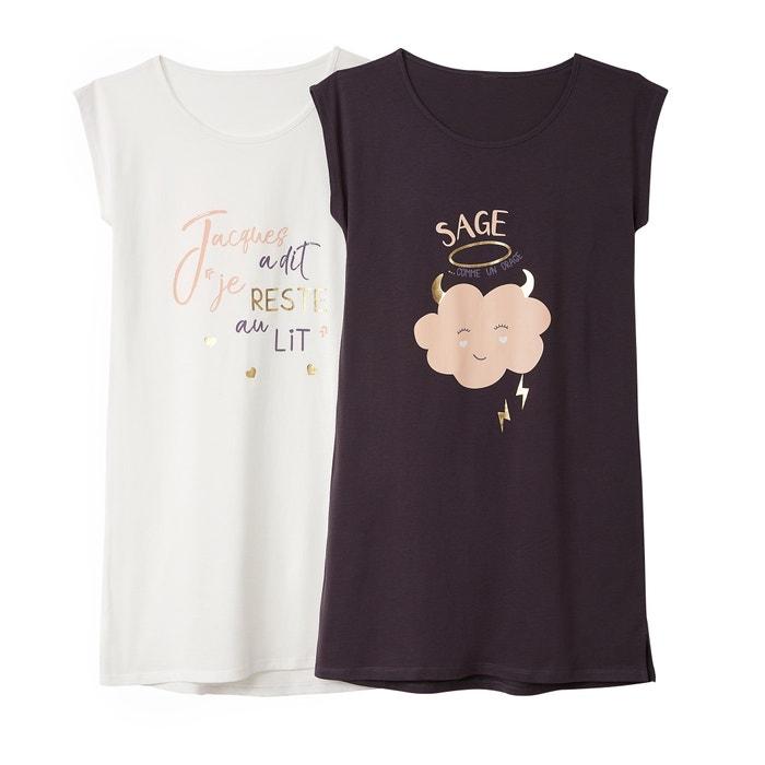 Camicia da notte in cotone (confezione da 2)  La Redoute Collections image 0
