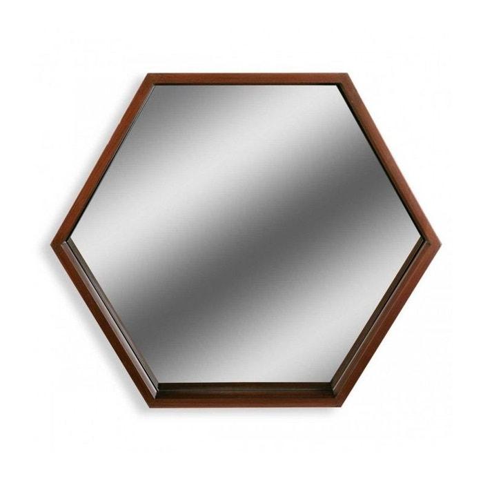 Miroir mural hexagonal bois bois wadiga la redoute for Miroir hexagonal