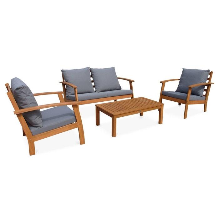Salon de jardin en bois 4 places ushuaia coussins gris canap fauteuils et table basse en - Salon de jardin couleur ...