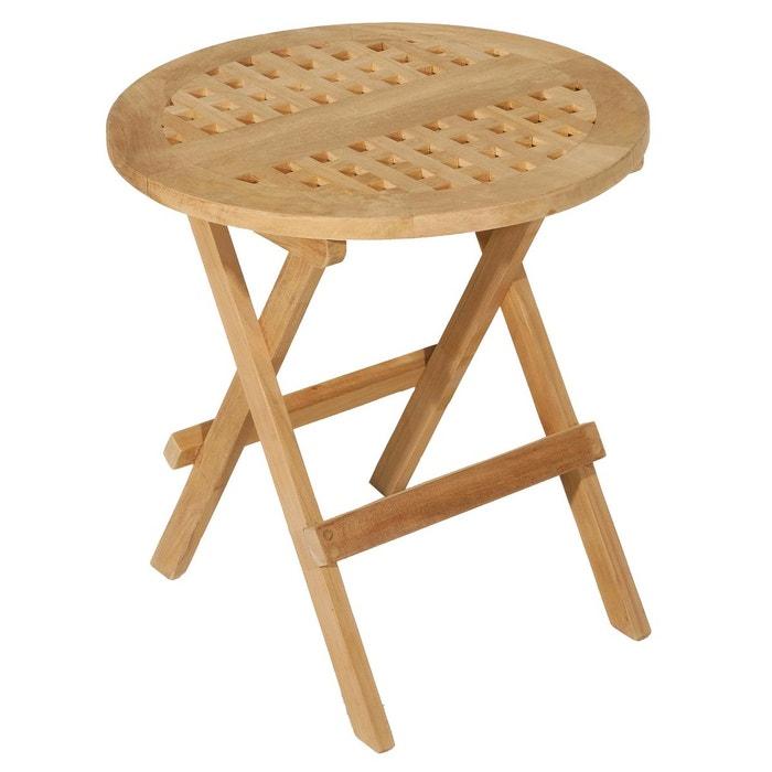 Table basse d\'appoint de jardin ronde pliante en bois de teck 50x50cm SUMMER