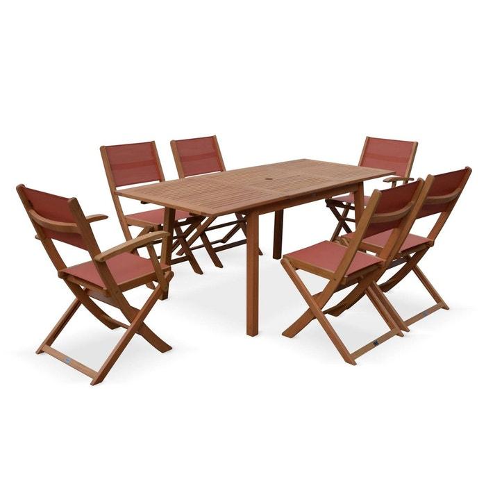 Table de jardin en bois Almeria 120-180cm rectangulaire avec allonge  eucalyptus FSC
