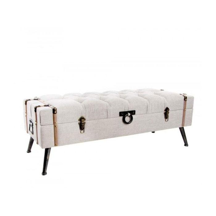 banquette coffre bout de lit beige capitonn beige wadiga. Black Bedroom Furniture Sets. Home Design Ideas