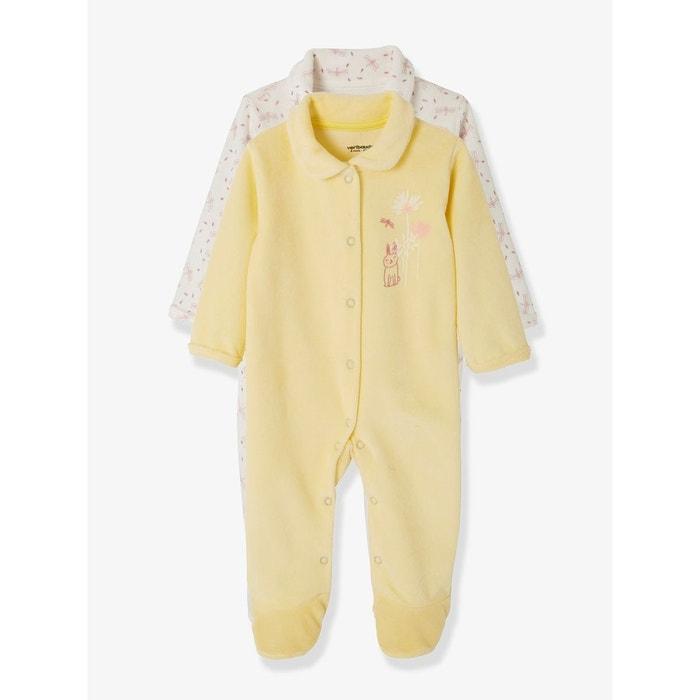 767181325c57f Lot de 2 dors-bien bébé velours devant pressionné jaune imprimé multicolore  Vertbaudet
