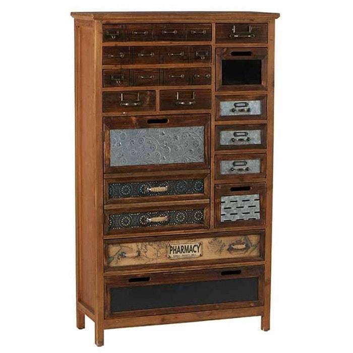 Commode apothicaire rétro style campagne en bois sapin et métal 13 tiroirs  76cm LAMPHUN