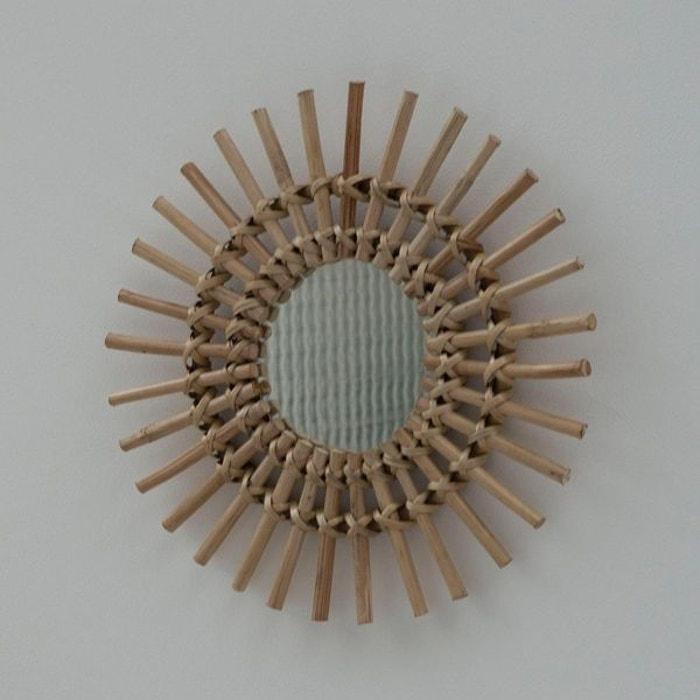 Miroir soleil vintage en rotin naturel 30 cm dino moka bois clair Casatera    La Redoute 7d557d087459