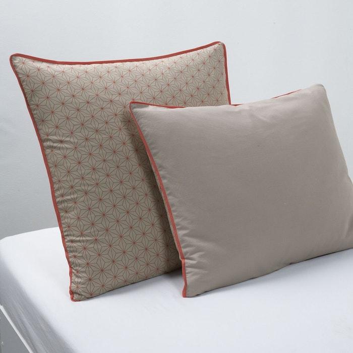 taie d 39 oreiller nordic marron imprim la redoute. Black Bedroom Furniture Sets. Home Design Ideas