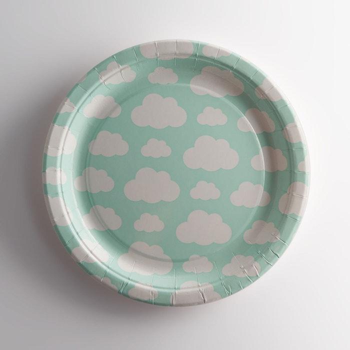 Assiette en carton imprimé nuage (lot de 8), Cimel