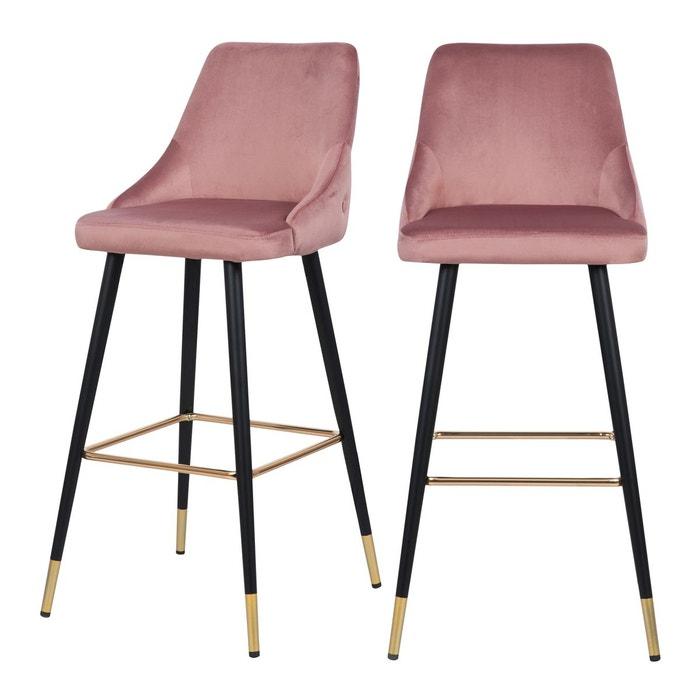 Chaise de bar Aristote en velours 77.5 cm (lot de 2)