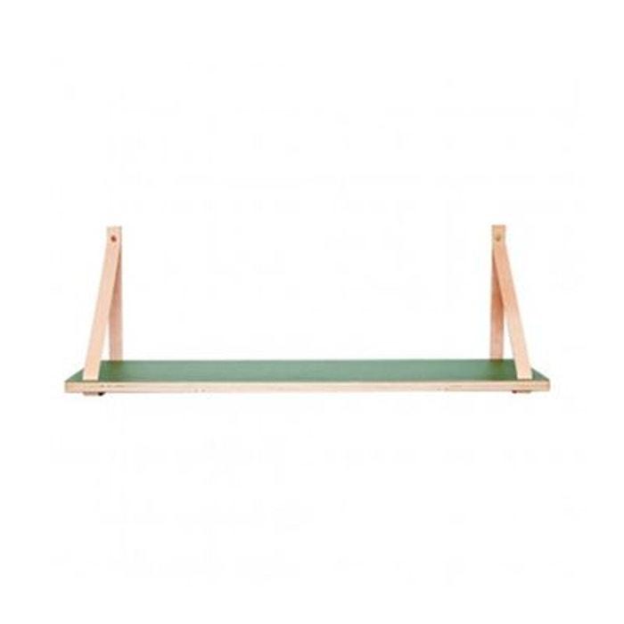 tag re murale suspendue bois vert et lani res cuir vert. Black Bedroom Furniture Sets. Home Design Ideas