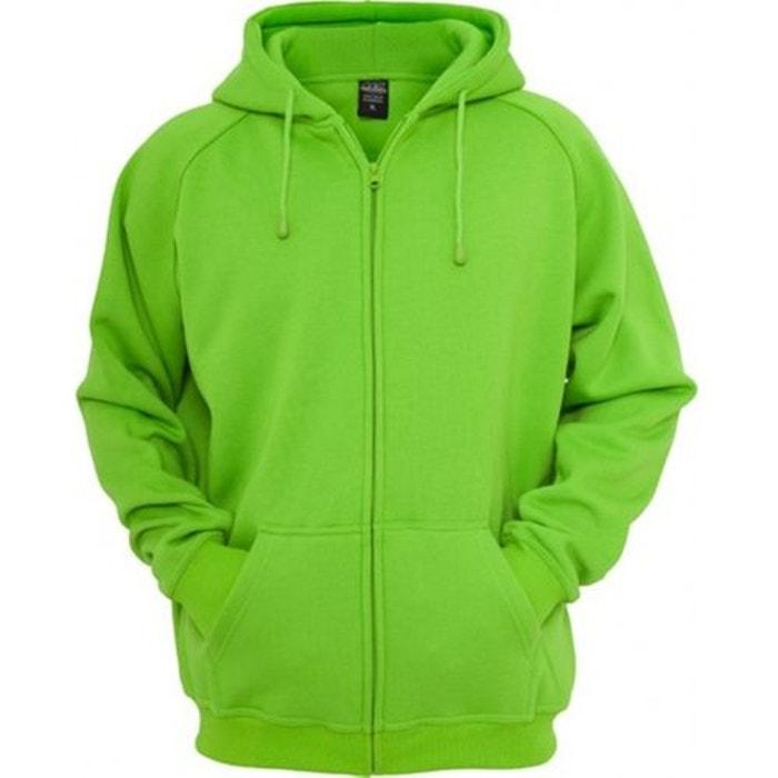 Sweat zippé ample uni molleton vert lime Urban Classics