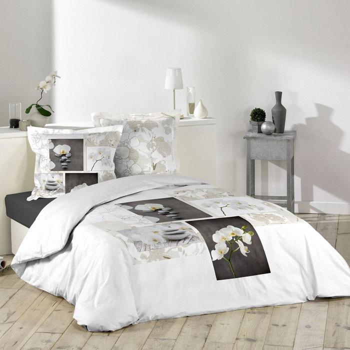 parure de couette 100 coton orchidea zen fond blanc decorline la redoute. Black Bedroom Furniture Sets. Home Design Ideas
