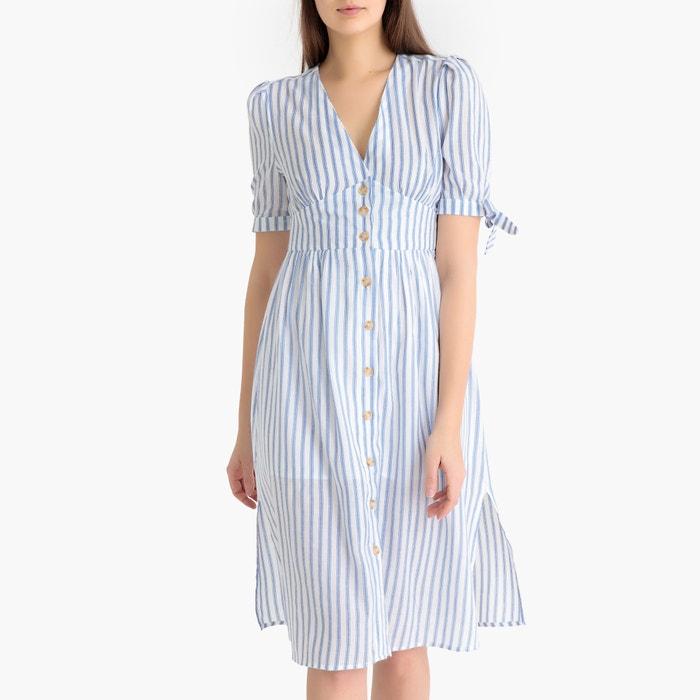 375473bcbfbbc6 Gestreepte jurk met korte mouwen bardot wit blauw Garance Paris