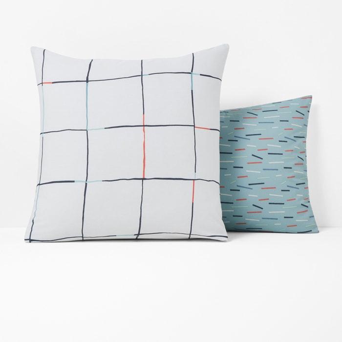 Mist Cotton Percale Patterned Pillowcase  La Redoute Interieurs image 0