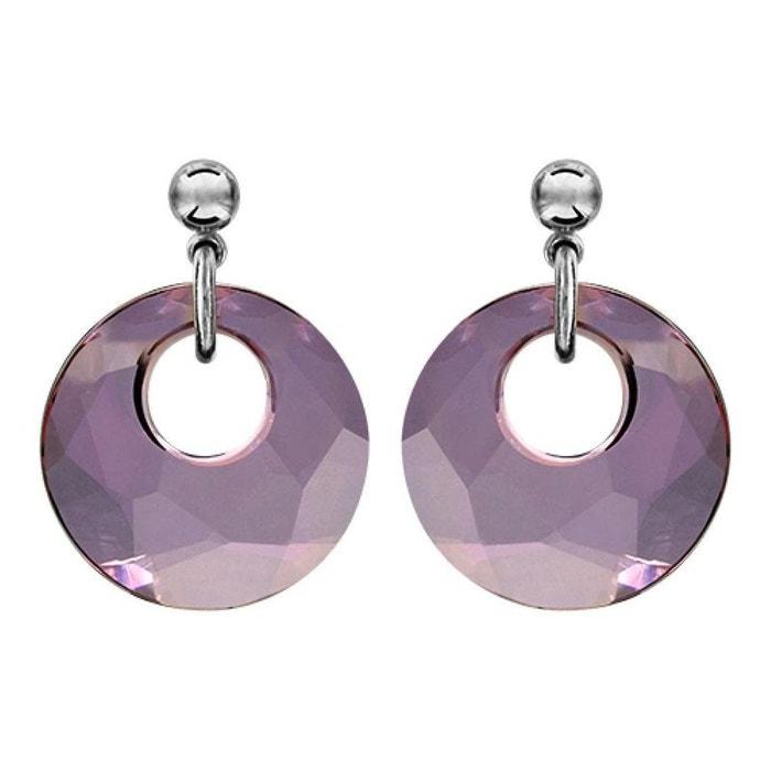 Boucles d'oreilles rond cristal violet argent 925 couleur unique So Chic Bijoux | La Redoute
