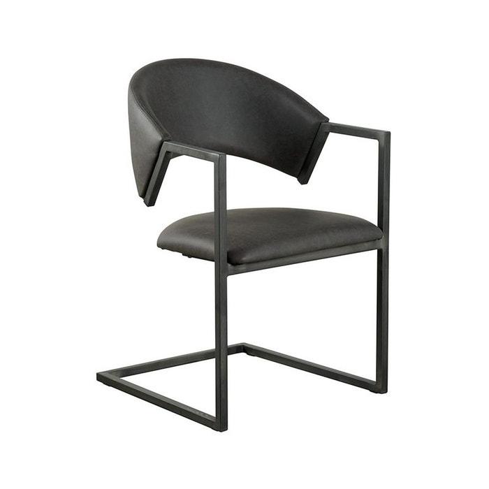 Chaise Avec Accoudoirs Tissu Microfibres Gris Et Pieds Metal Noir 53x81x54cm Pier Import