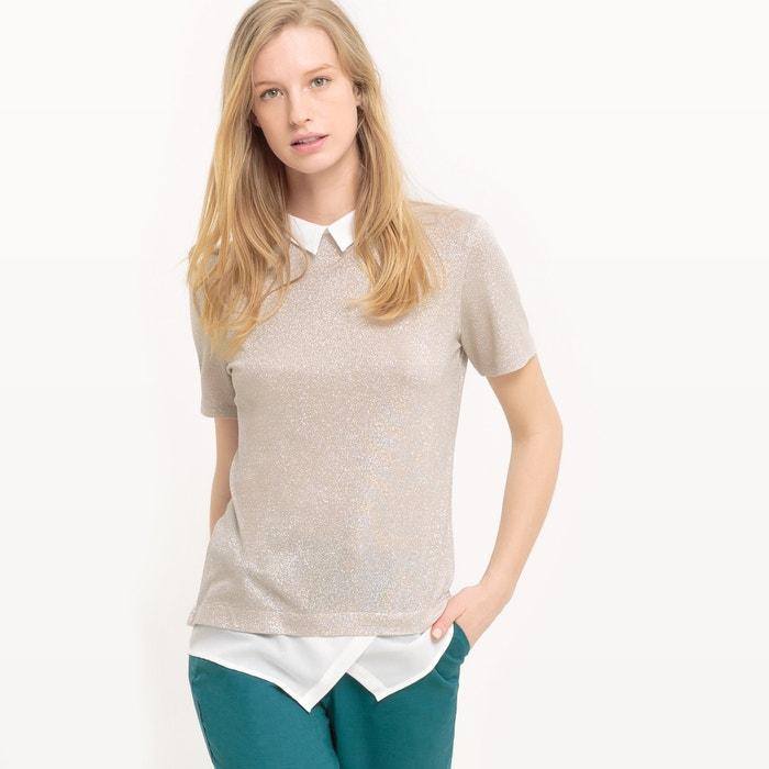 afbeelding T-shirt met metallic effect en hemdskraag La Redoute Collections