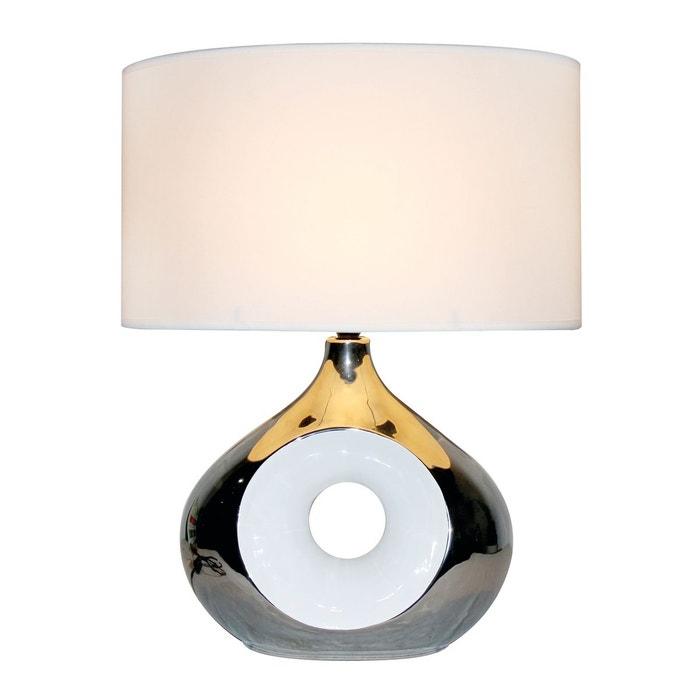 Lampe De Salon Holly Argentee En Ceramique Et Abat Jour Blanc Blanc