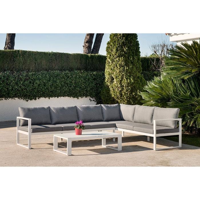 Salon de jardin zurich gris en alu gris et blanc rotin design la redoute - La redoute salon jardin ...