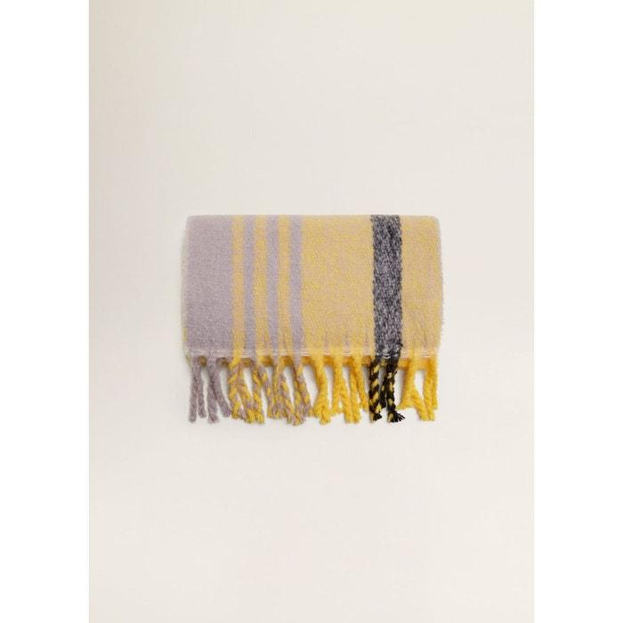 Écharpe maxi à carreaux jaune Mango   La Redoute 45070c5dc4a