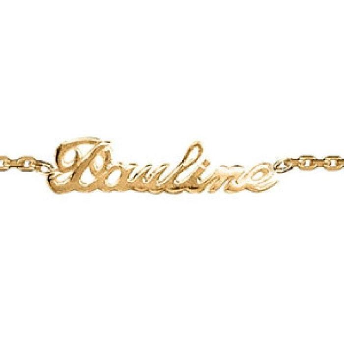 Bracelet longueur réglable: 17 à 18,5 cm identité maille forçat ciselée forme anglaise plaqué or 750 couleur unique So Chic Bijoux | La Redoute