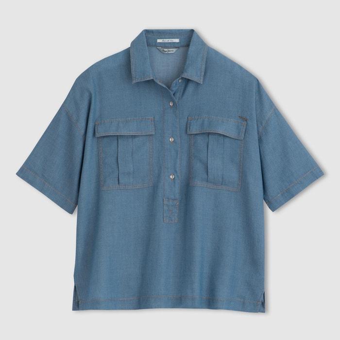 PEPE corta de Camisa JEANS manga qrgCEI6rwx