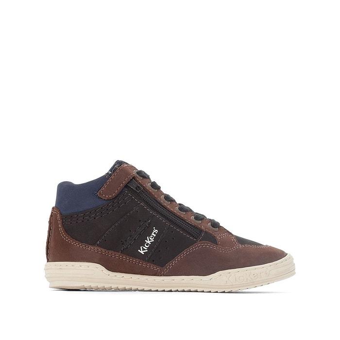 d3ee4a4bbd0113 Baskets montantes cuir justicier noir marron Kickers | La Redoute