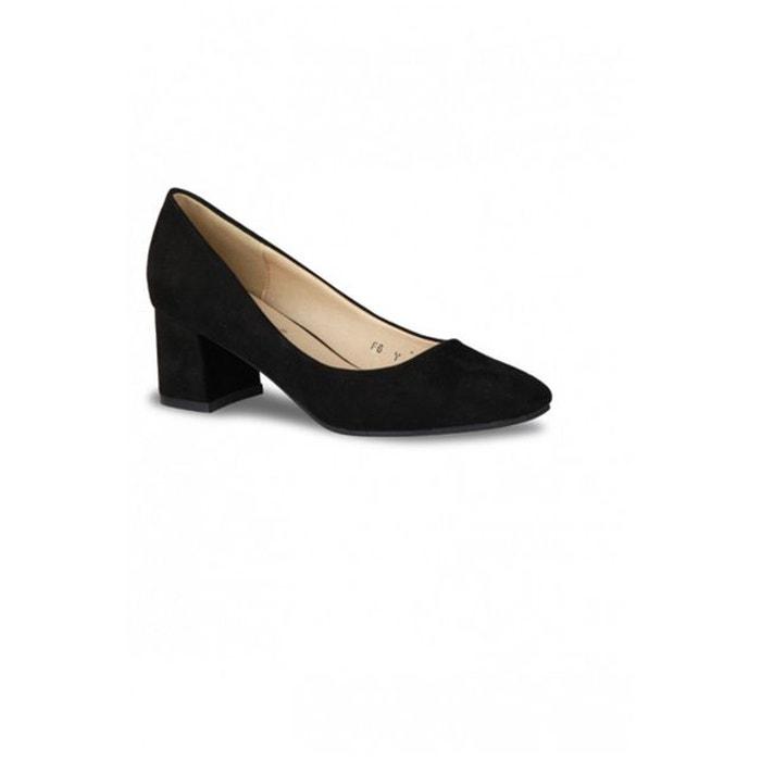 Escarpins Femme style daim large talon bout fermé noirs
