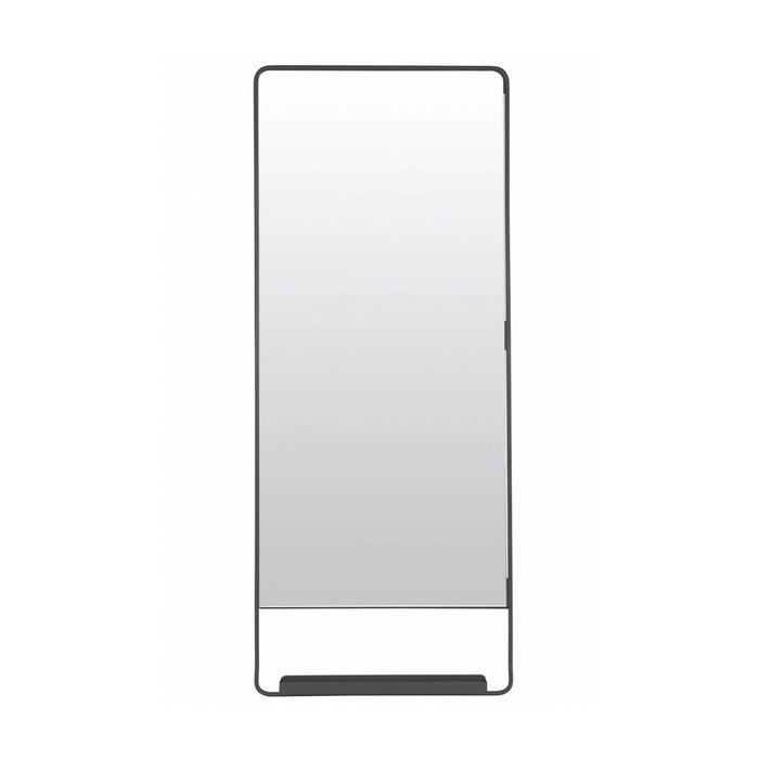 Miroir Mural Vertical Chic Avec Tablette Et Bord Noir