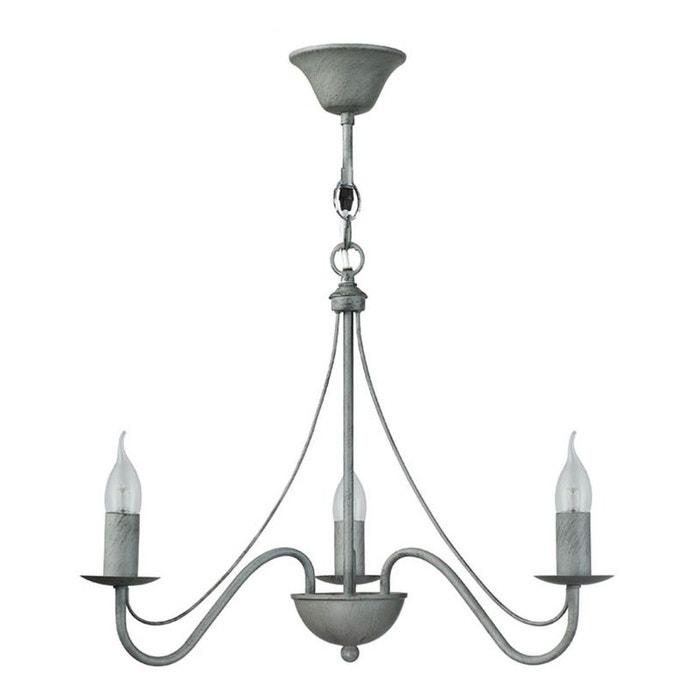 lustre 3 ampoules camille gris en fer forg gris keria la redoute. Black Bedroom Furniture Sets. Home Design Ideas