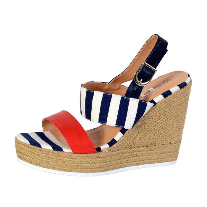 The Divine Factory Sandale Compensée Rouge - Livraison Gratuite avec  - Chaussures Sandale Femme