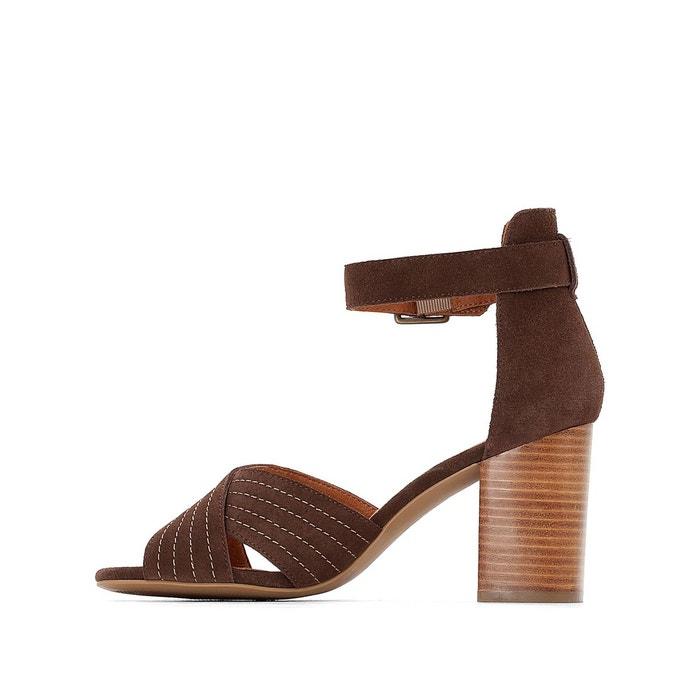 Sandales cuir brides croisées chocolat La Redoute Collections