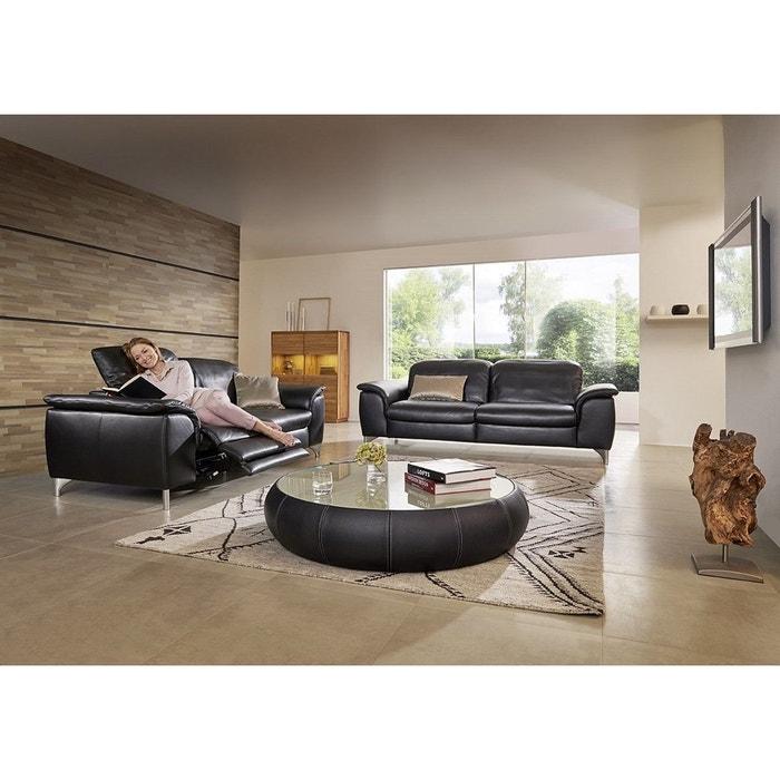 canap cuir 3 places supr merelax ergonomique noir seanroyale la redoute. Black Bedroom Furniture Sets. Home Design Ideas