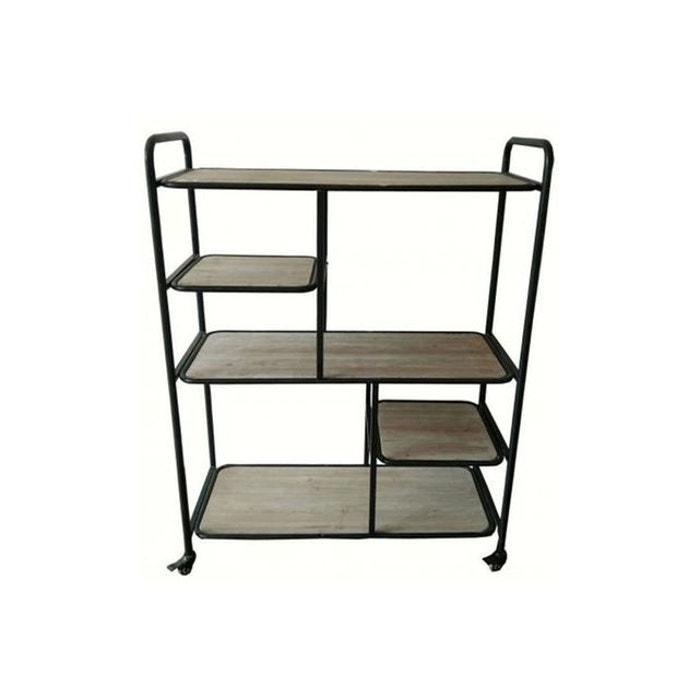 etag re roulettes en m tal et bois opalio noir declikdeco la redoute. Black Bedroom Furniture Sets. Home Design Ideas