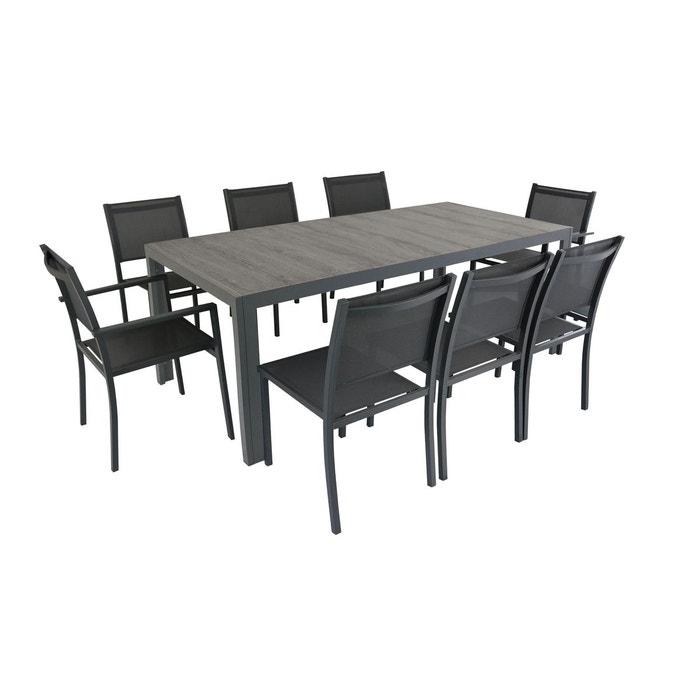 Salon de jardin aluminium et céramique, 1 table, 6 chaises, 2 ...
