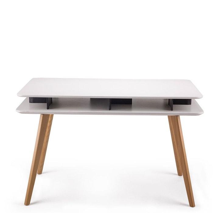 Bureau design bois geeko blanc drawer la redoute for Bureau console la redoute
