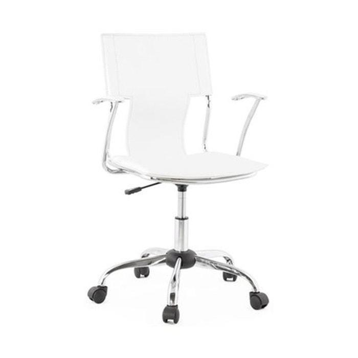 chaise de bureau blanc et m tal mobile simili cuir. Black Bedroom Furniture Sets. Home Design Ideas