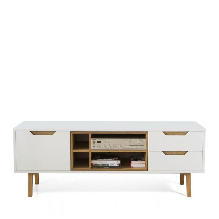 meuble tv design blanc et ch ne 150cm sleek blanc drawer la redoute. Black Bedroom Furniture Sets. Home Design Ideas