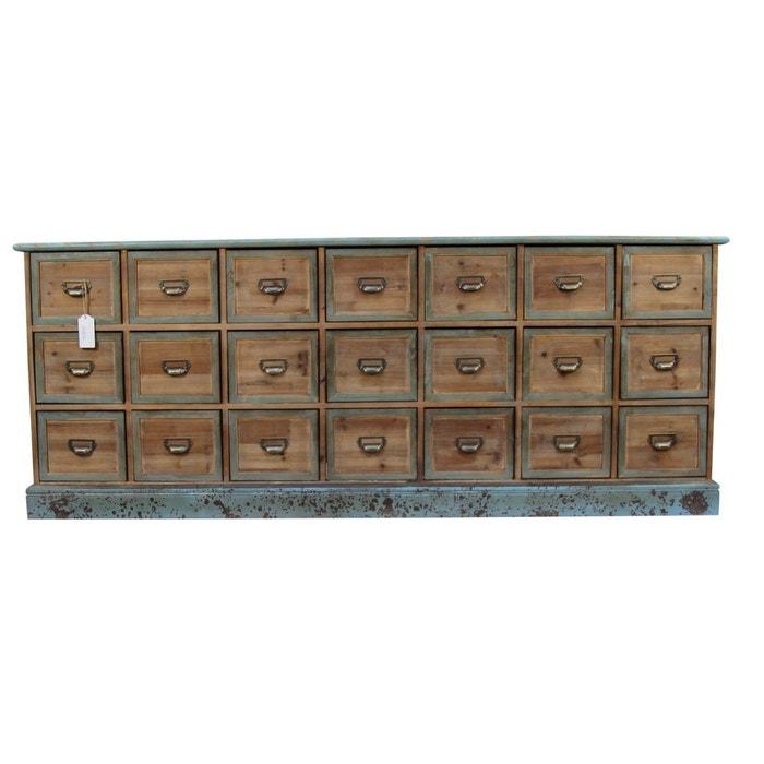 MEUBLE SEMAINIER CHIFFONNIER GRAINETIER BOIS 21 TIROIRS BLEU VIEILLI 192x40.5x76cm