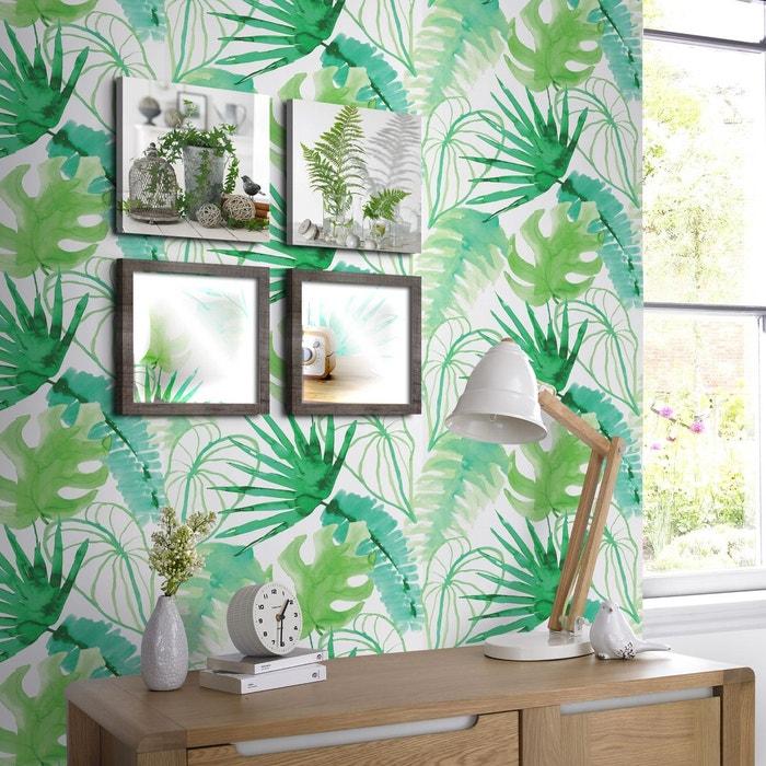 Papier Peint Support Intisse Elle Junger Fievre Blanc Vert Vert