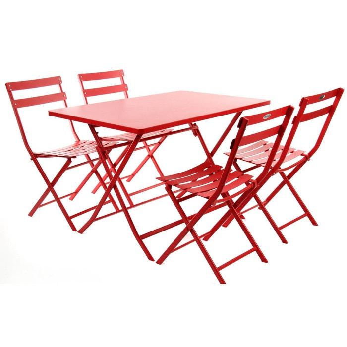 salon de jardin 4 places greensboro groseille rouge hesperide la redoute. Black Bedroom Furniture Sets. Home Design Ideas