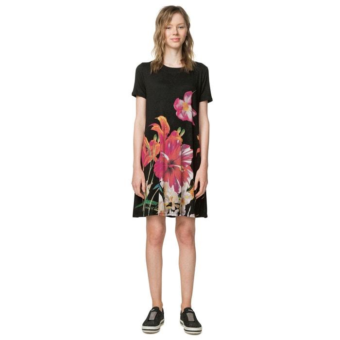 DESIGUAL estampado recto manga con de Vestido corto flores corta de rtSqtHnw