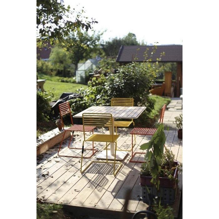Salon de jardin egoe table tina carrée et 4 chaises métal acier de ...