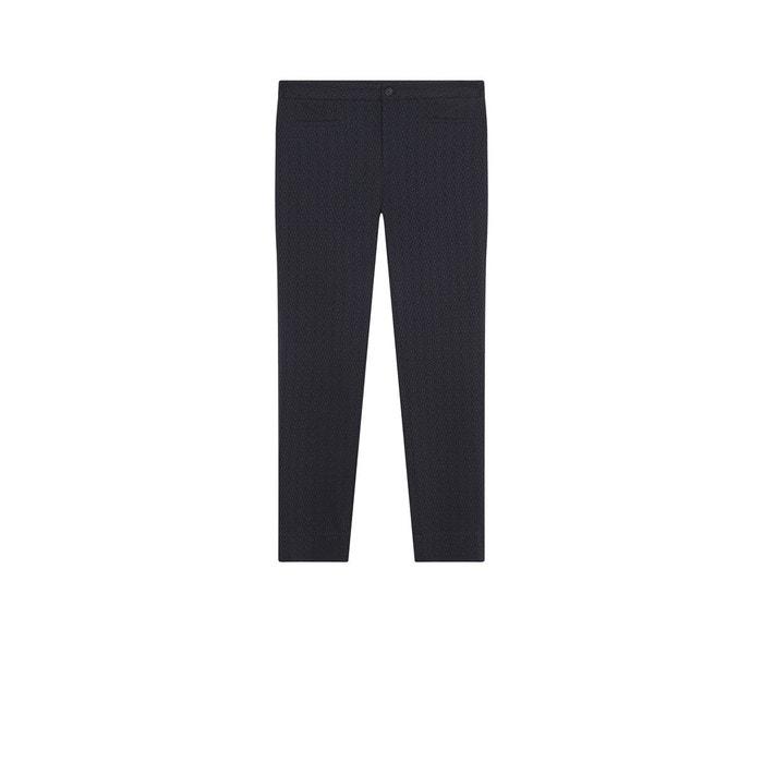 Bleu Devernois 78 Marine Pantalon De Ème En Jacquard Coton Stretch A8OSzW