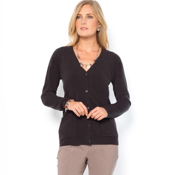 Chaqueta de punto fino y suave con cuello de pico negro Anne Weyburn ... 94ddb5038c9c